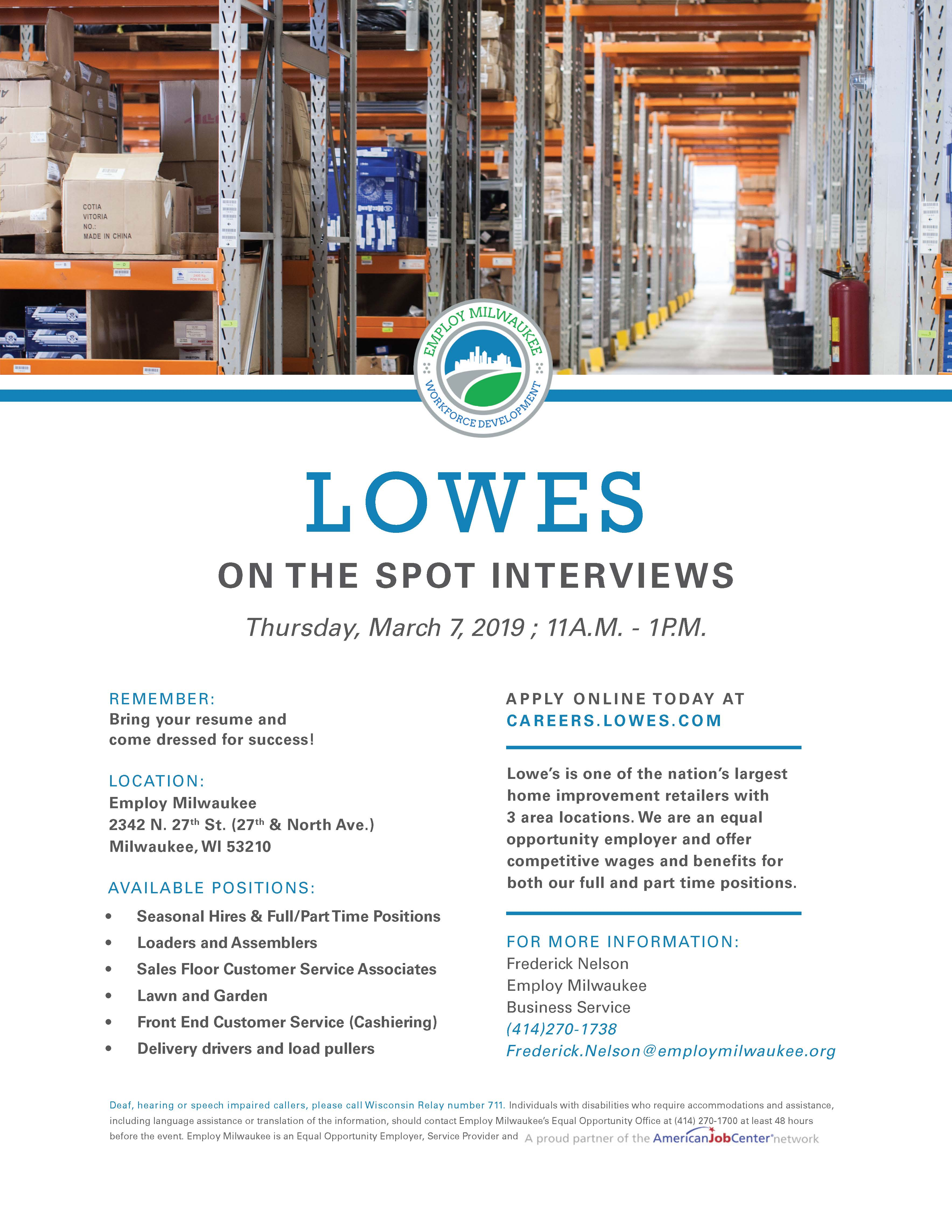 Economics Committee: On the spot interview at Lowes