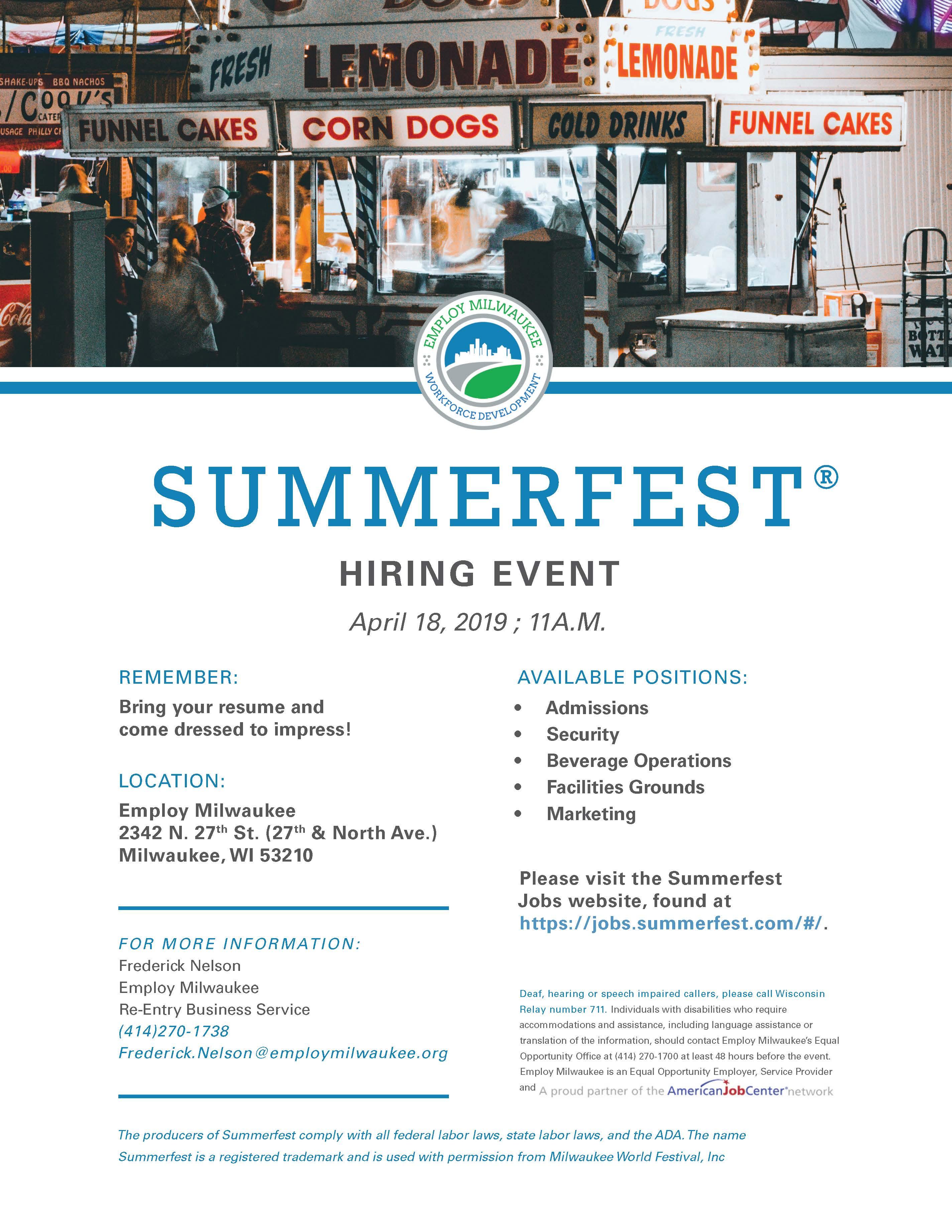 Summerfest Hiring Event